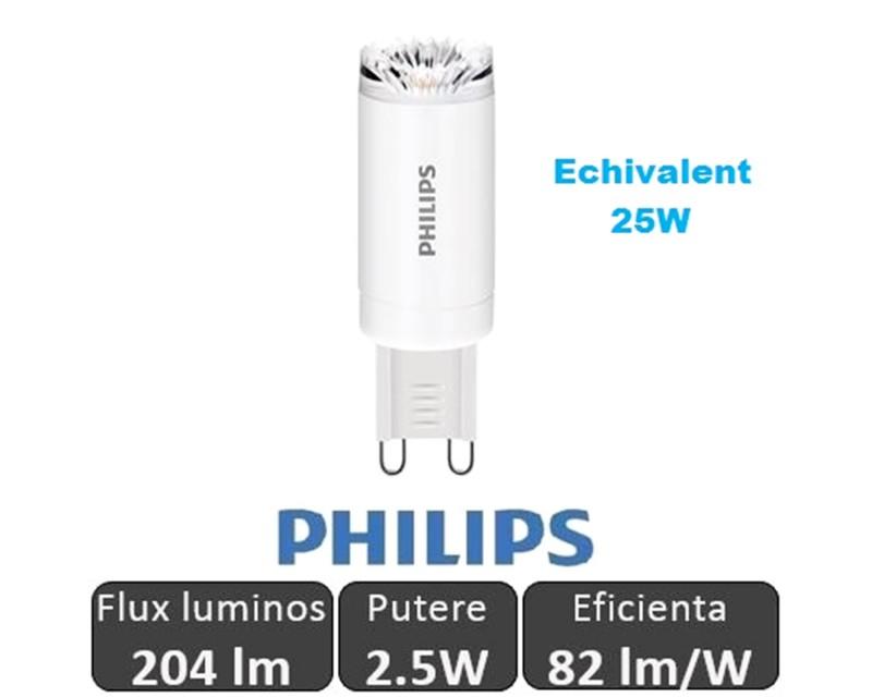 Bec LED Philips CorePro LEDcapsule MV - 2.5W G9 230V Alb Cald
