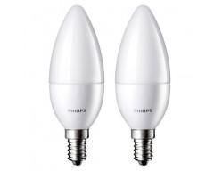 Set 2 becuri LED Philips - forma lumanare - 3W - Soclu E14 - Alb cald